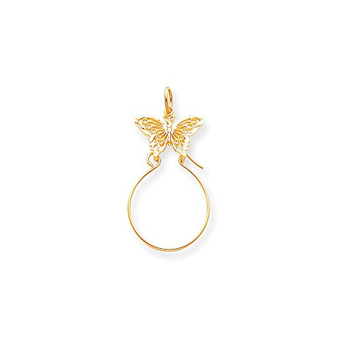 Gold Butterfly Charm Holder - 10k Yellow Gold Filigree Butterfly Charm Holder