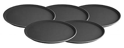 Juego de 5 Bandeja – 35,5 cm de diámetro – Bandeja camarero antideslizantes –
