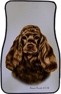 Chocolate Cocker Spaniel Car Floor Mats - Carepeted All Weather Universal Fit for Cars & Trucks