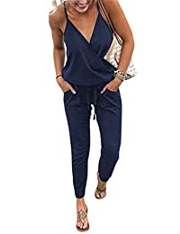 ECOWISH Women's V Neck Spaghetti Strap Drawstring Waisted Long Pants Jumpsuit Rompers