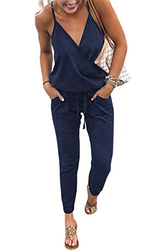 (ECOWISH Women's V Neck Spaghetti Strap Drawstring Waisted Long Pants Jumpsuit Rompers Navy Blue XL)