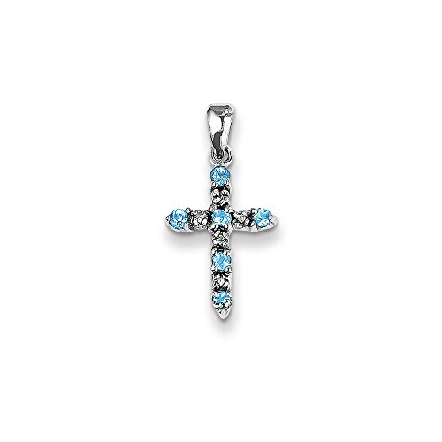 14K Solid White Gold (0.01cttw) Diamond and Blue Topaz Cross Pendant (22mm x 11mm) ()