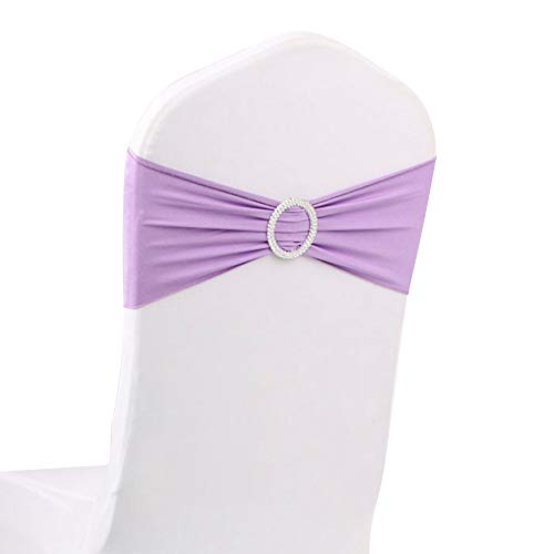 Highland Lavender - LOVWY 50 PCS Lavender Spandex Chair Bands Stretch Chair Sashes Bows for Wedding Party Engagement Event Birthday Graduation Meeting Banquet Decoration