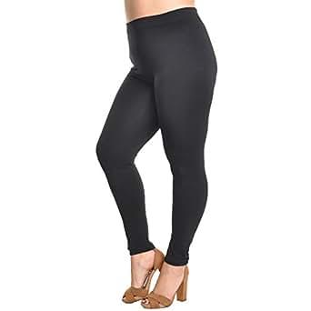 Angelina Full-Length Seamless Plus Size Leggings, #1011PS_Black
