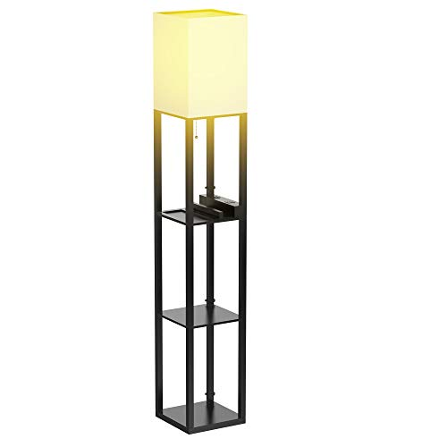 Floor Lamp with Shelves – Shelf Floor Lamps by Real Solid Wood with 2 USB Ports & 1 Power Outlet, Floor Lamps for…