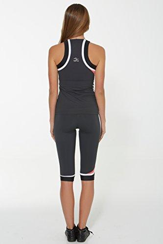 Naffta Spinning - Pantalón pirata para mujer, color gris ceniza / negro, talla L Gris Ceniza / Negro