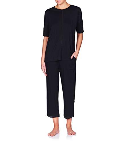 Naked Women's Luxury Pajama Set - Ladies Short Sleeve Sleep Shirt & Loungewear PJ Pants - Black Bare Necessities, Large