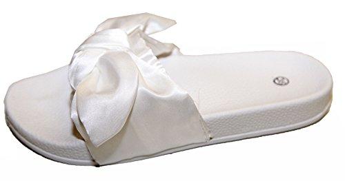 Sandales Plate Femme Noeud Satin Semelle Intérieur Ergonomique Style Fenty Blanc