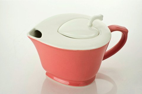 Inside Out Hearts Teapot - Pink with White