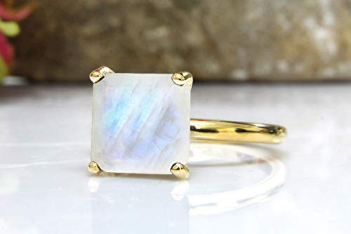 10Mm Moonstone Ring For Women By Anemone Unique - Exquisite Rainbow Moonstone Gold Ring With Timeless Beauty Made By Talented Artisans [Handmade Jewelry] ()