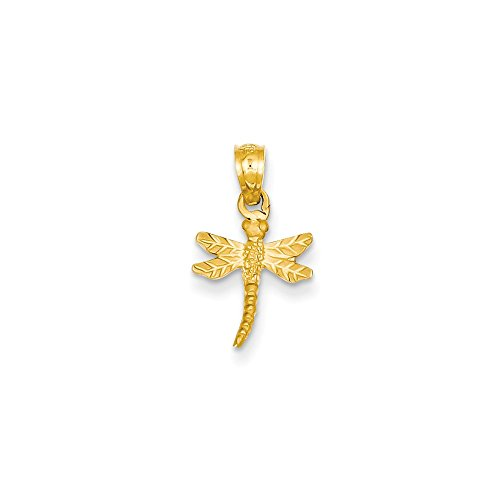 Mireval 14k Yellow Gold Dragonfly Pendant (10 x 19 mm)
