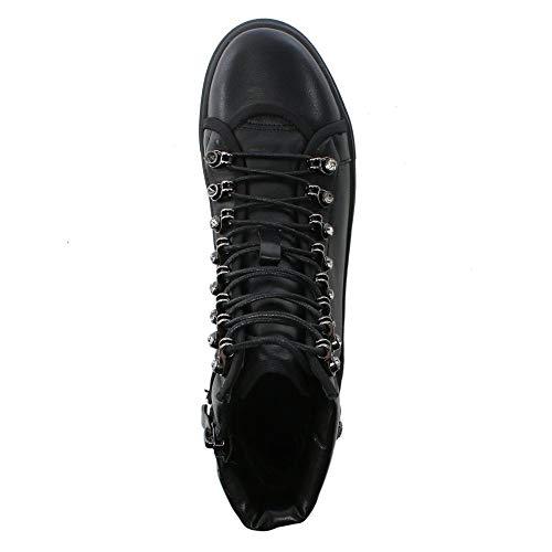 Black Noir Diamante Bottines Daniel Peplow Cuir Leather xpfnwXq