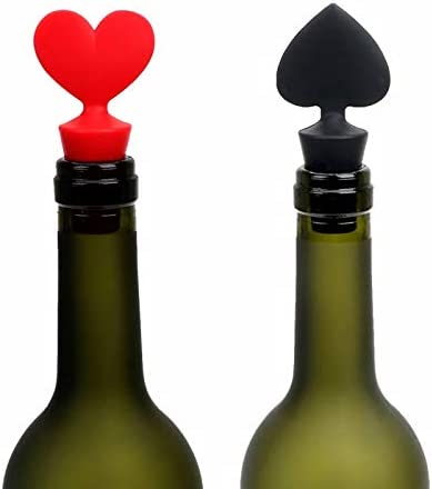 Heiqlay Tapón de Botella de Vino, Silicona Tapon Vino, Acero Inoxidable Sacacorchos, para el hogar, restaurante, fiesta, como regalo, Abrebotellas de vino 1pc, Tapón de botella 4pcs