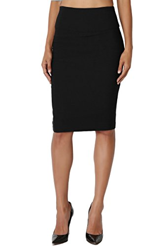 (TheMogan Junior's Slim! Basic High Waisted Stretch Pencil Midi Skirt Black 1XL)