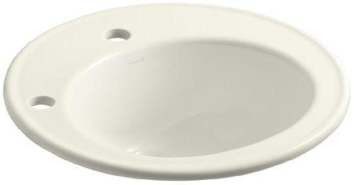 KOHLER K-2202-1L-96 Brookline Self-Rimming Bathroom Sink with Single-Hole Faucet Drilling and Left-Hand Soap/Lotion Dispenser Hole Drilling, Biscuit (Brookline Self Rimming Bathroom Sink)