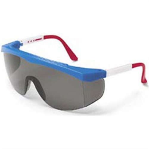 MCR Crews SS130 Stratos Safety Glasses Red White Blue Frame Clear Lens 1 Pair -