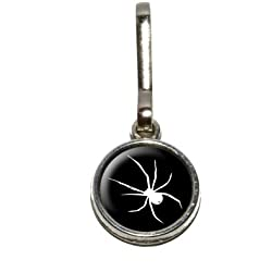 Graphics and More Spider - White on Black Antiqued Charm Clothes Purse Luggage Backpack Zipper Pull