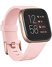 Fitbit Versa 2 Health and Fitness Smartwatch with Heart Rate, Music, Alexa Built-In, Sleep and Swim Tracking, Petal/Copper Rose, One Size (S and L Bands Included)