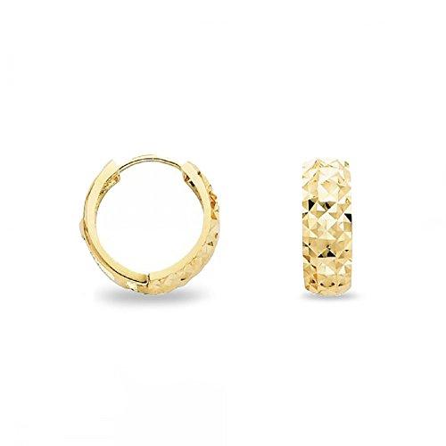 Round Dome Huggie Hoop Earrings Solid 14k Yellow Gold Small Huggies Diamond Cut Genuine 15 x 5 (14k Dome Earrings)
