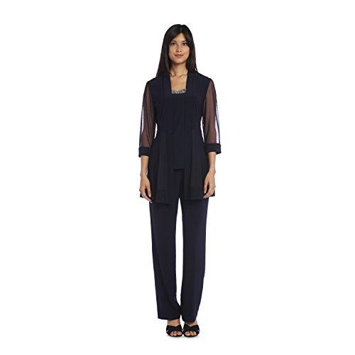 R&M Richards Long Pant Suit Dress Black Formal Jacket