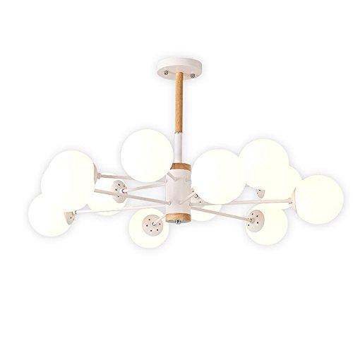 Salón nórdico candelabro blanco leche simple bola de cristal de la lámpara de la habitacion Restaurante de madera maciza...