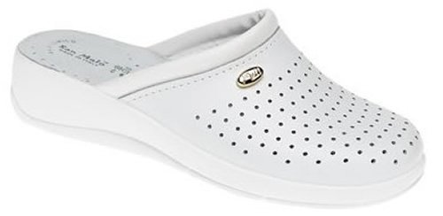 San Malo Value Nursing Clogs with Perforations - White - Size 40