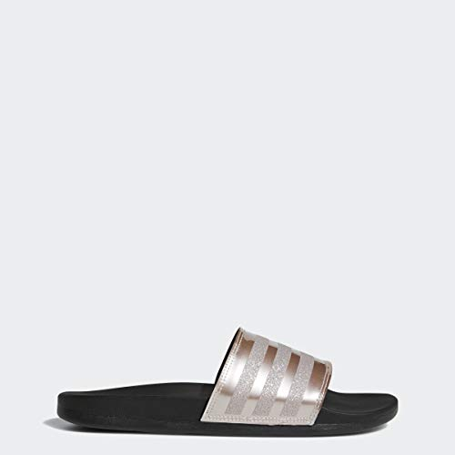 adidas Women's Adilette Comfort Sport Sandal, vapour grey metallic/vapour grey metallic/black, 9 M US
