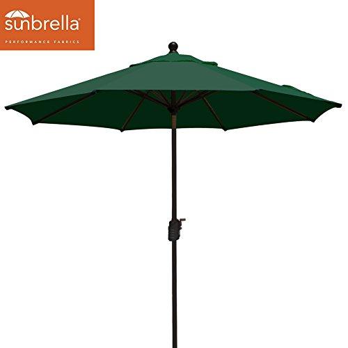 Elite Shade Sunbrella 9Ft Market Umbrella Patio Outdoor Table Umbrella with Ventilation,Bonus weatherproof Cover (Sunbrella Forest (Canopy Forest Green)