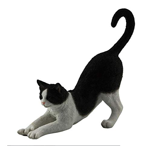 Tuxedo Cat, Black and White, Stretching, Statue Figurine, - Statue Figurine Cat