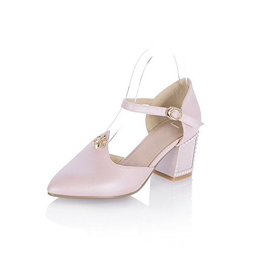 AllhqFashion Women's Soft Material Pointed Closed Toe High Heels Buckle Solid Sandals Pink