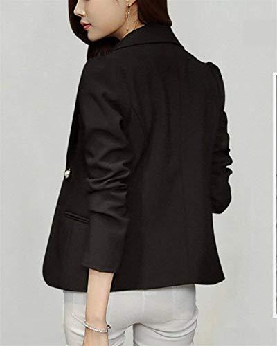 Da Classiche Lunga Donna Giacca Casuali Con Business Slim Schwarz Primaverile Autunno Tasche Cappotto Giacche Tailleur Fashion Monocromo Manica Giaccone Blazer Button Fit drrO4