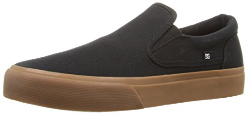 DC Men's Trase Slip-On Tx Skateboarding Shoe, Black/Gum, - Sketches Skate Shoes