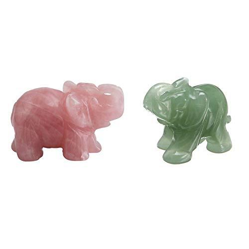 ZJHJH 2pcs Classic Green Pink Aventurine Jade Stone Craving Lucky Elephant Feng Shui Statue Figurine Home Office