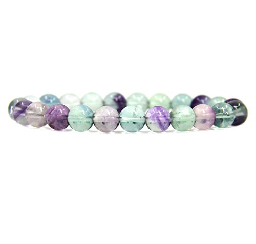 Bracelet Fluorite Purple - Amandastone AAA Grade Clear Fluorite Gemstone 8mm Ball Beads Stretch Bracelet 7