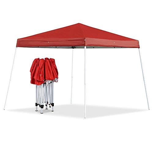 Yaheetech 10x10 Pop Up Canopy Tent Beach Sun Shade Easy Up Instant Shelter with Carrying Bag Red (Best Easy Up Canopy)