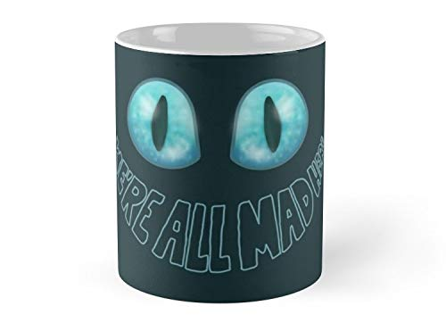 Hued Mia Mug We're All Mad Here - Tim Burton Cheshire Cat Mug - 11oz Mug - Features wraparound prints - Dishwasher safe - Made from Ceramic - Best gift for family friends -