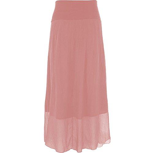 Mesdames Femmes italienne Lagenlook Plaine soie Maxi jupe longue Corail