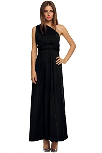 Chiffon ACEVOG 2 Straps Dress Party Adjustable Ruffle Women's Long Black Maxi Evening Sleeve qqwS6Zr