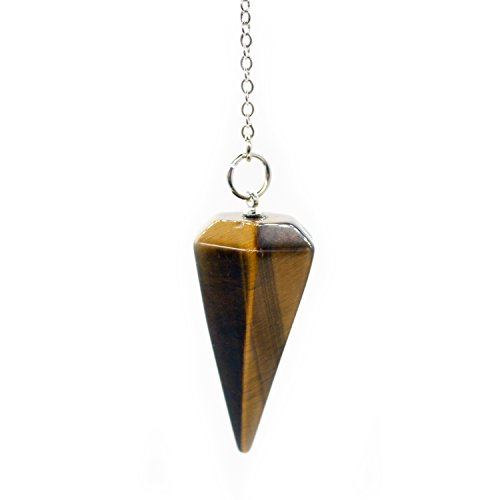 Crystal Pendulum Made of Natural Tiger's Eye Gemstone for Dowsing Divination Chakra Reiki. Pointed with Chain and Jewelry ()