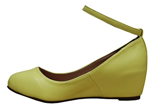 Cambridge Toe Lemon Strappy Round Pu Select Ankle Wedge Closed Wrapped Women's Buckle rqr6f