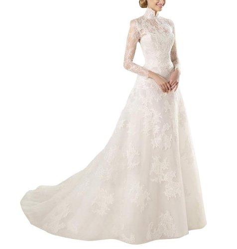 Hochzeitskleid GEOGE lang Weiß Spitze Elegant Stehkragen BRIDE Aemeln Uxg1wq8PTg