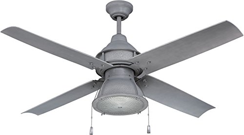Craftmade Outdoor Ceiling Fan with CFL Light PAR52AGV4 Port Arbor 4 Blade 52 Inch Wet for Patio, Galvanized
