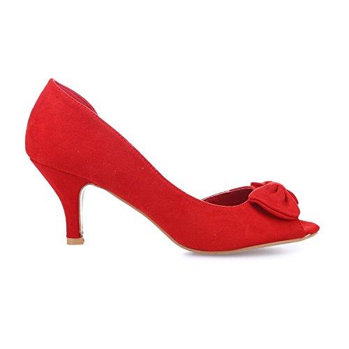 Mujer Sintético Vestir La Modeuse Zapatos Rojo De 49862 7qxYUaw