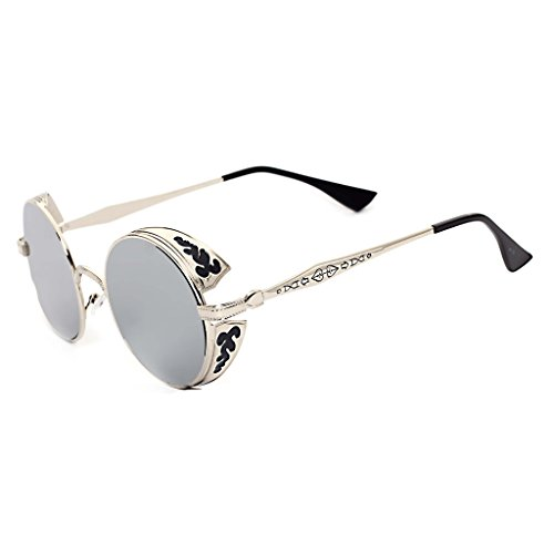 Juleya Ronda Mercurio Metal de Hombres Plata Gafas Steampunk Mujeres blanco sol qrBWPwqR