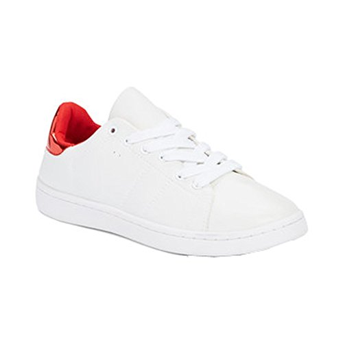 Happy Bee Adulto Bianco Rosso Retro Colletto Stringate Casual Sneakers 5.5-11 Da Donna