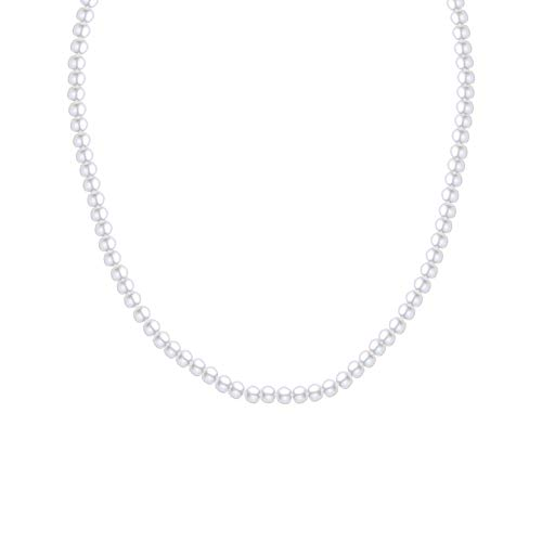 Sterling Silver Oval White 5.5-6 mm Freshwater Cultured Pearl Necklace Single Strand