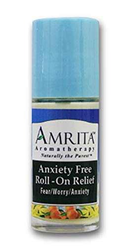 AMRITA Aromatherapy: Organic Anxiety Free Roll-On Relief - Anxiety Reducer - Blended with Pure Quality Essential Oils of Ylang-Ylang, Myrrh & Bergamot - Size: 30ML