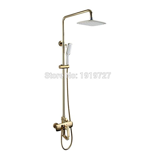 TINS Bathroom Shower Set Faucet Shower Mixer Rainfall Golden Brass Shower System With Pressure Air Hand Shower And Swivel Spout