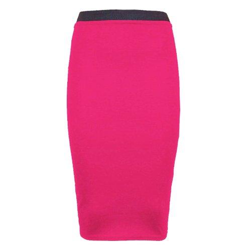 mi longue bureau Runway pour femme unie moulante Pour crayon jupe extensible Fuchsia Splash 0nqgPYq4w6