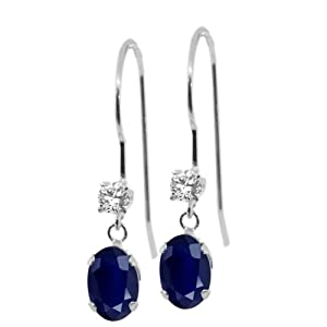 1.20 Ct Oval Blue Sapphire Gemstone Birthstone 14K White Gold Dangle Earrings